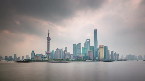Day shanghai downtown river traffic bay panorama 4k time lapse china Royalty-free stock video