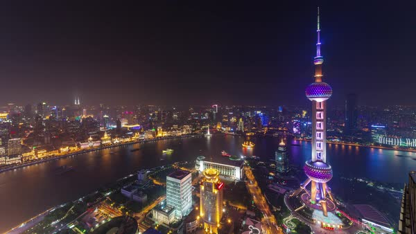 Night illumination shanghai river bay downtown panorama 4k time lapse china Royalty-free stock video