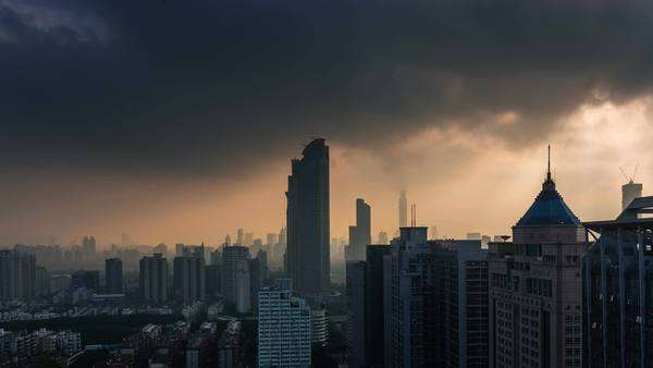 Day till night Shenzhen city vertical panorama, timelapse Royalty-free stock video