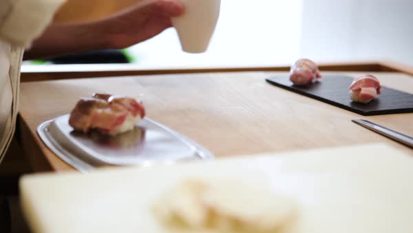 Close-up shot of a chef preparing sushi Royalty-free stock video