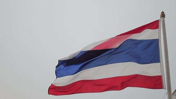 Handheld shot of the Thai flag blowing in the wind Royalty-free stock video