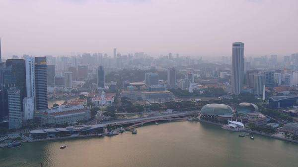 Singapore,singapore,15/08/2015:singapore skyline cityscape  business center district seen from aerial view pan shot across the bay skycrapers in the background Royalty-free stock video