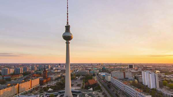 Berlin skyline cityscape timelapse at the sunset day to night transition Royalty-free stock video