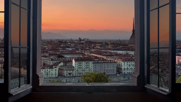 Turin skyline time lapse from day to night seen from a window Royalty-free stock video