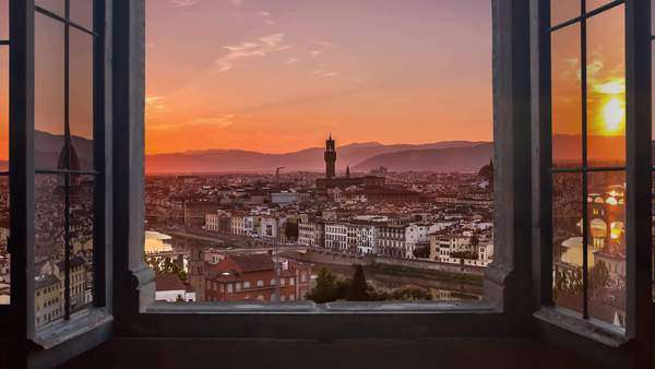 Florence skyline seen from an open window, aerial day to night timelapse at  sunset, Piazzale Michelangelo Royalty-free stock video