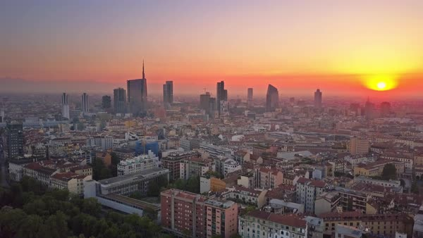 Milan City Skyline Aerial View At Sunrise Flying Backwards Royalty-free stock video