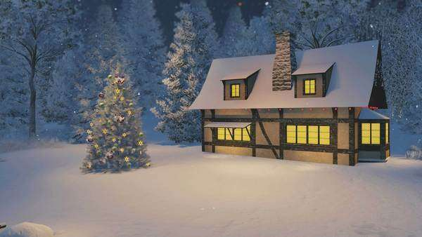 Christmas Night Scene Snowbound Cozy Rustic House With Chimney And Luminous Windows Decorated