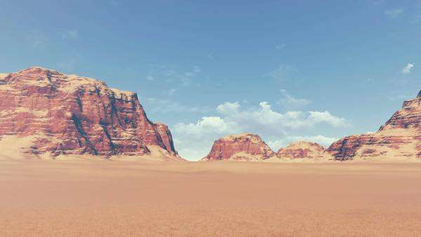 Panorama of red rock formations among barren lands. Royalty-free stock video