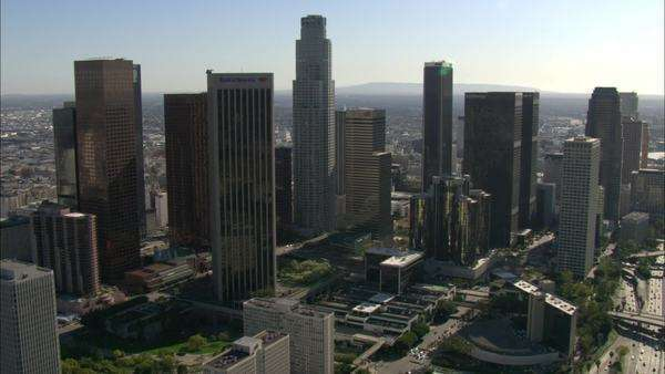 Aerial shot of skyscrapers in downtown Los Angeles, California Royalty-free stock video