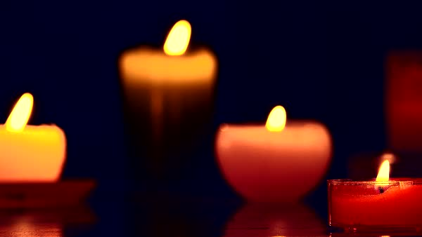 Red  candles flicker with  lights  Royalty-free stock video