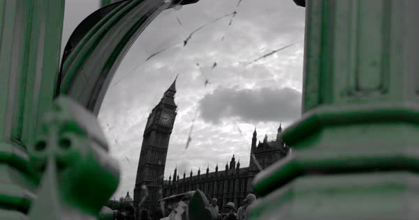 View Of Big Ben & Houses Of Parliament Through Cracked Wing Mirror, London, England Rights-managed stock video