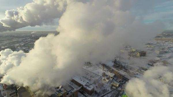 Air pollution, aerial.  Chimneys releasing a fantastic amount of smoke. Royalty-free stock video