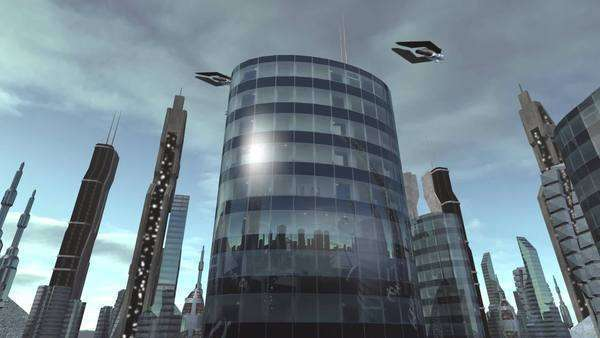 Animation of a building in a futuristic city with spaceships passing by. Royalty-free stock video