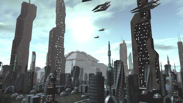 Animation of a futuristic city with modern pyramids and towers. Spaceships are passing by. Royalty-free stock video