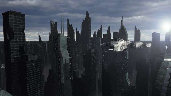 An animation of a spaceship flying above a futuristic city Royalty-free stock video