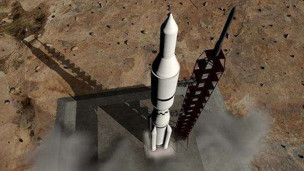 Close-up of a rocket launch to space. Detailed animation with dynamic smoke and exhaust. Royalty-free stock video