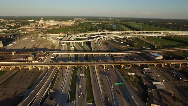 Forward approach shot over highways in Dallas, TX. Royalty-free stock video