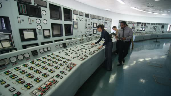 Team of engineers working in power station control room Royalty-free stock video