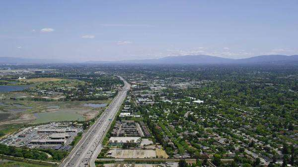 Aerial view of Silicon Valley area in California Royalty-free stock video