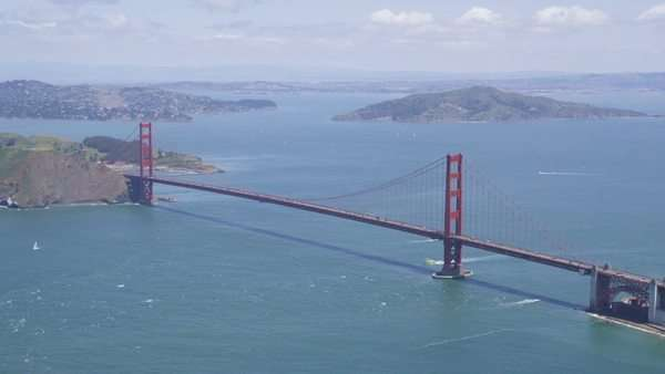 Aerial shot of Golden Gate Bridge San Francisco city. Helicopter view of iconic engineering span across the bay. West coast California State. Marin County, USA. Royalty-free stock video