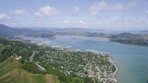 Aerial view of Sausalito in San Francisco City Bay area in west coast California. Royalty-free stock video