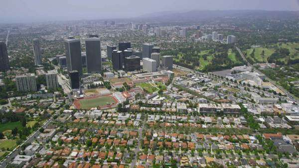 Helicopter Aerial view California houses and skyscrapers, Los Angeles  United States in the Summer. Royalty-free stock video