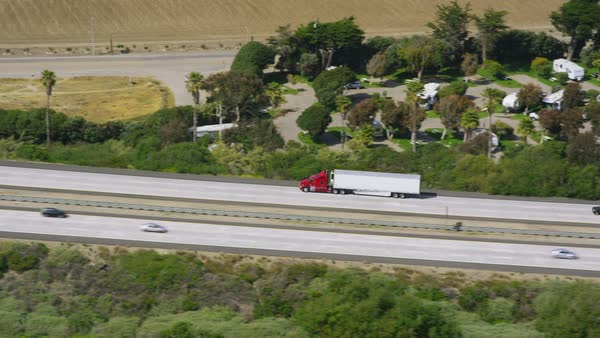 Aerial view of trucks on a highway Royalty-free stock video