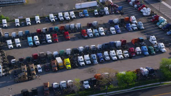 Aerial view of truck depot in New York City. Royalty-free stock video