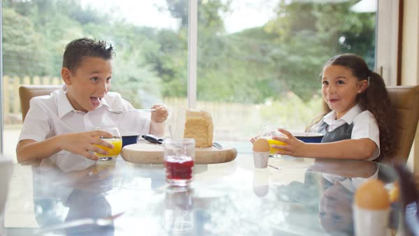Happy young brother   sister eating at the breakfast table Royalty free  stock video. Cute young brother   sister in bathroom  looking in mirror