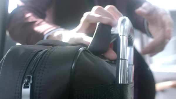 Slow motion shot of a man grabbing his luggage Royalty-free stock video