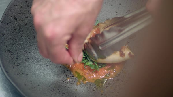 Hand-held shot of a chef plating a meal on a dark plate Royalty-free stock video
