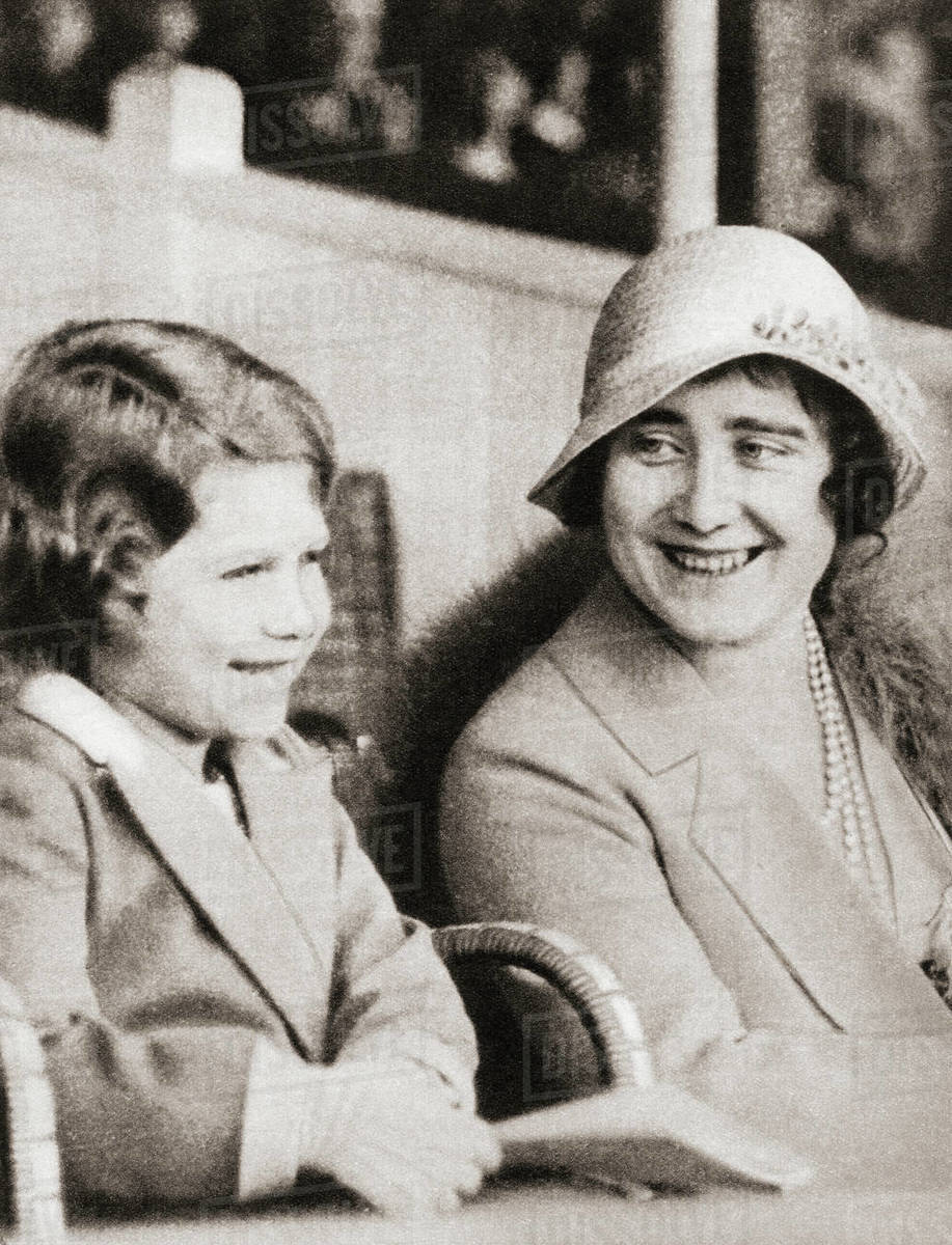 Princess Elizabeth of York with her mother the Duchess of York at the  rehearsal of the Aldershot Tattoo in 1932  Princess Elizabeth of York,  future