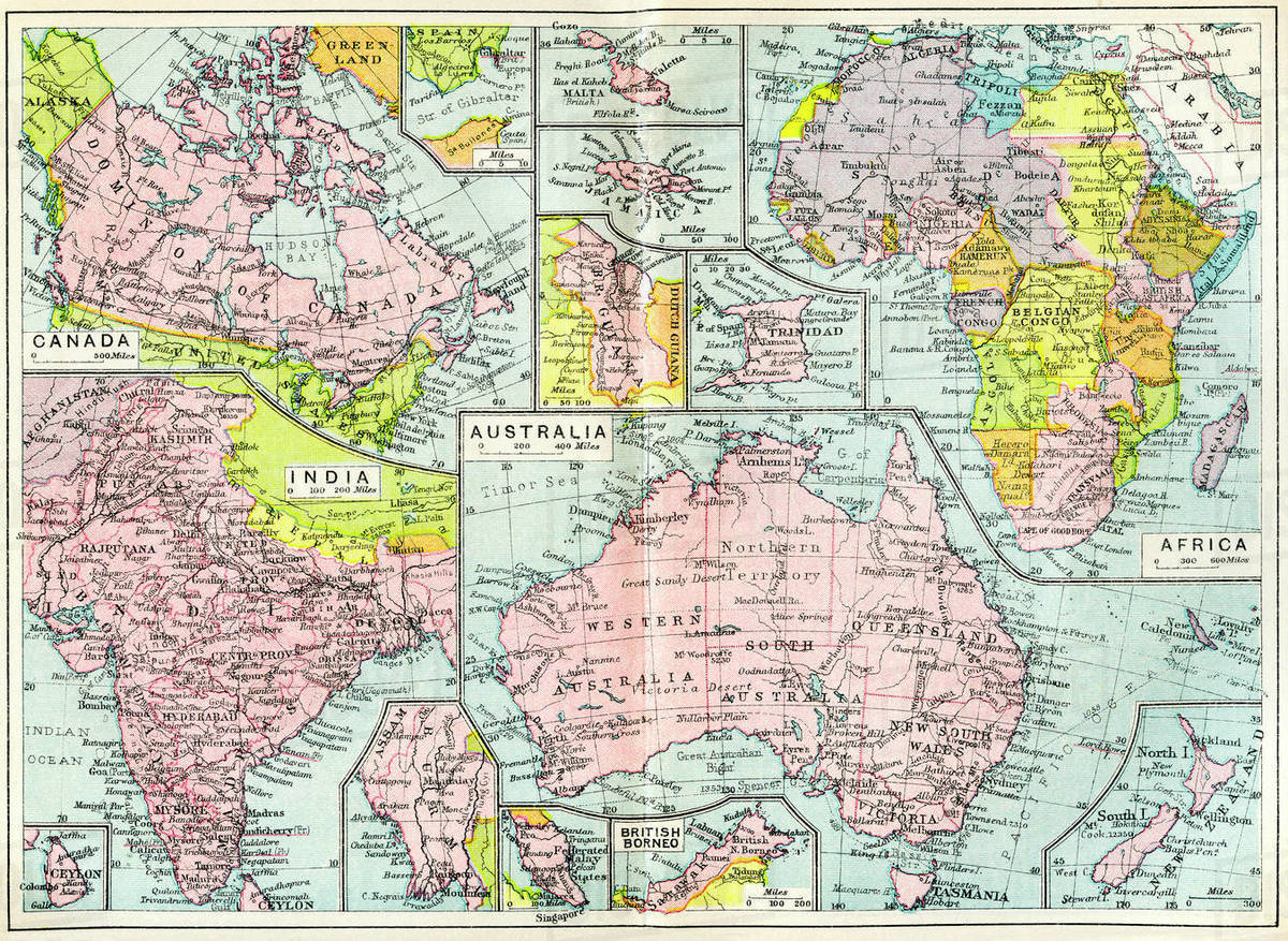 Map 1914.Map Of British Possessions In 1914 At The Outbreak Of Wwi From The British Empire Universities Modern English Illustrated Dictionary Published 1914