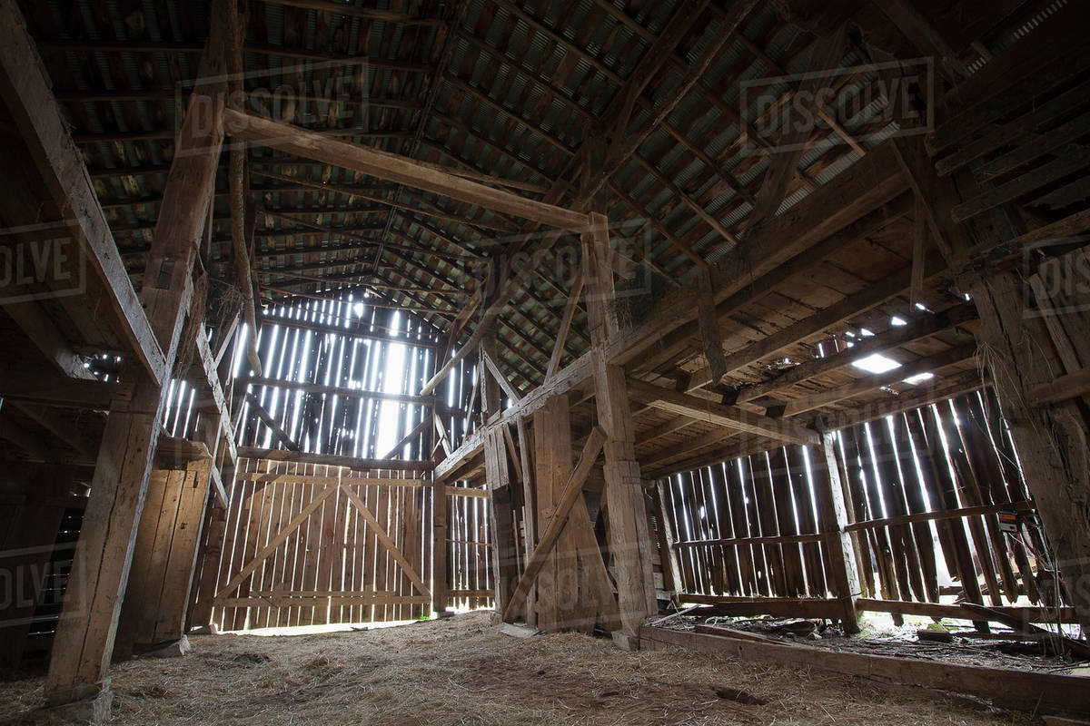 Interior Of An Old Barn In Rural South Central Kentucky United States America