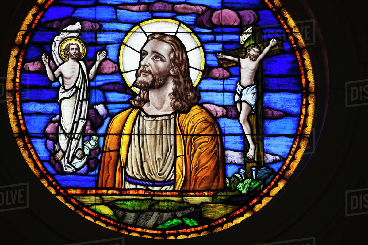 Stained Glass Window Depicting Jesus Christ And His Death Resurrection At Asbury Theological Seminary University Wilmore Kentucky
