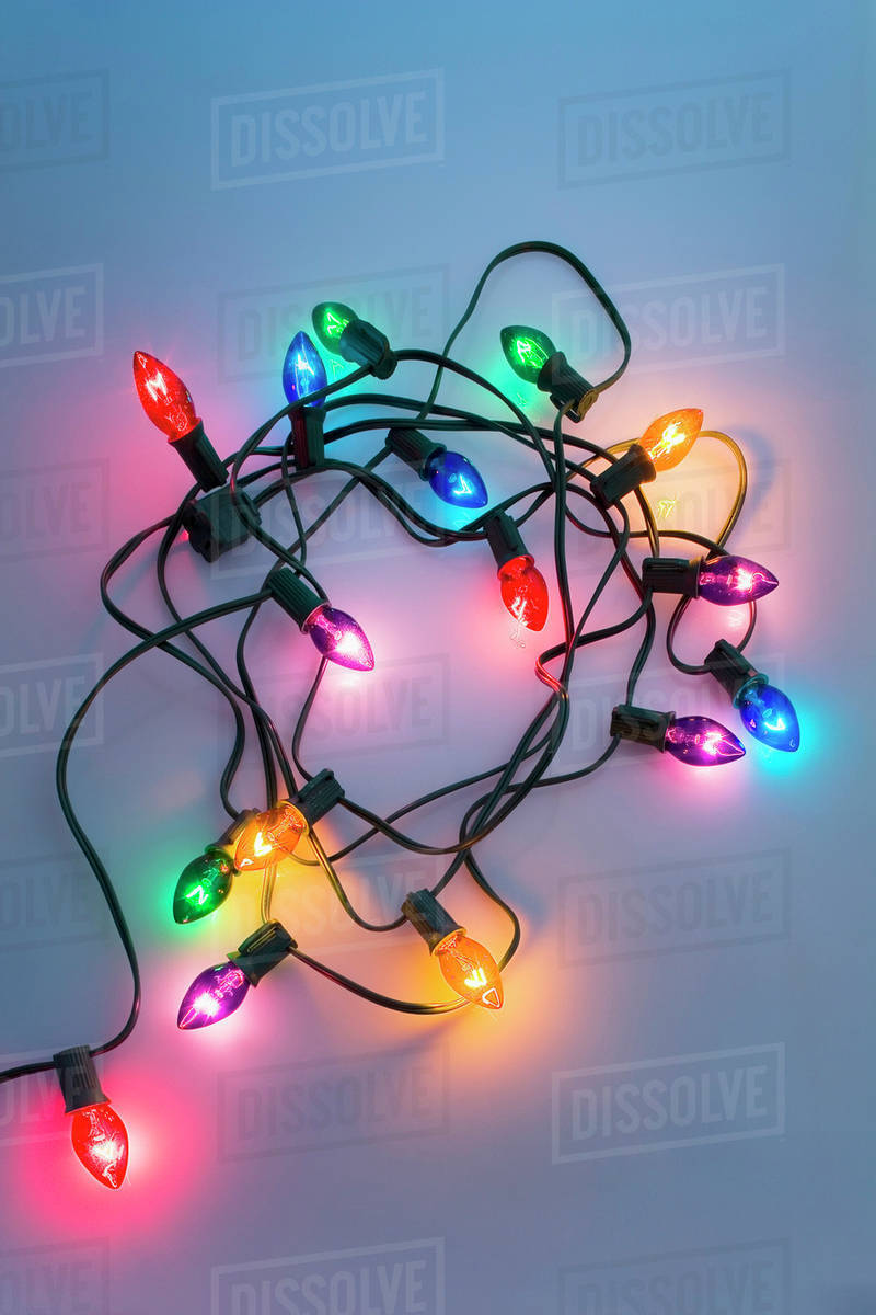 one strand of large christmas tree lights with black cord coiled on white dimmed background studio portrait