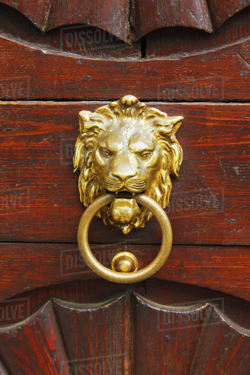 Lion Door Knocker In Mala Strana District; Prague, Hlavni Mesto Praha,  Czech Republic