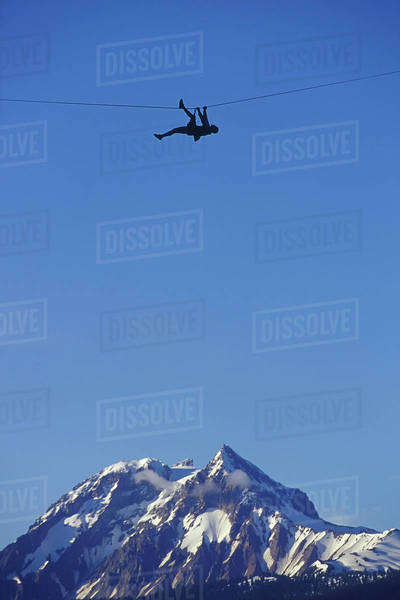 Traversing Between Two Peaks, Squamish, Bc, Canada Royalty-free stock photo
