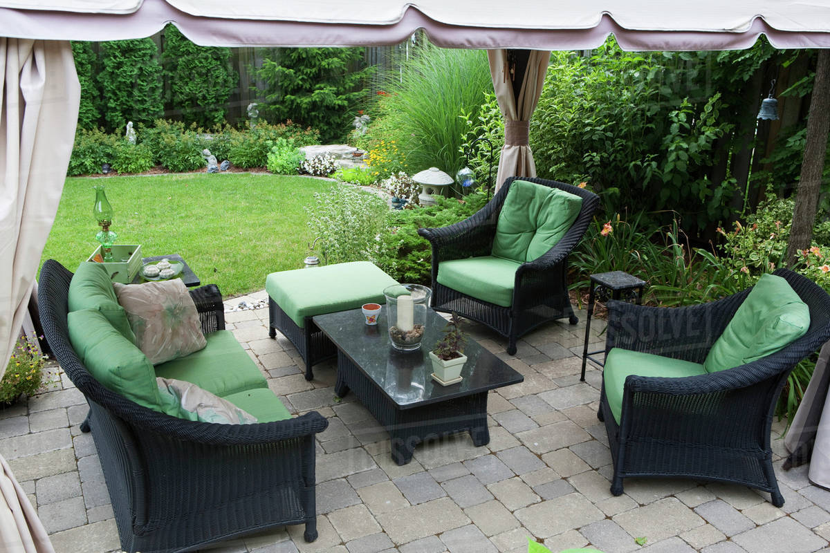 Covered Patio Furniture On Stone