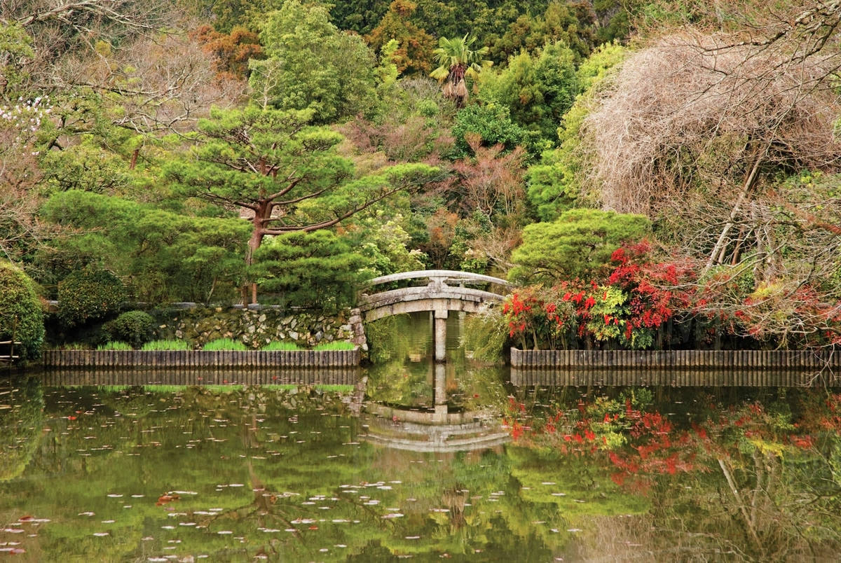 Japanese garden with pond and stone bridge;Kyoto japan - Stock Photo ...