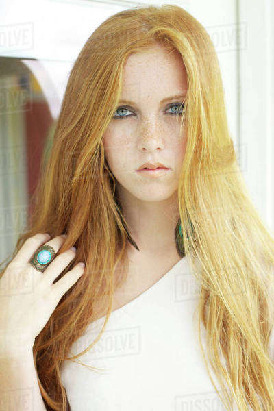 858623da568bf Portrait of a young woman with long red hair Kauai hawaii united states of  america