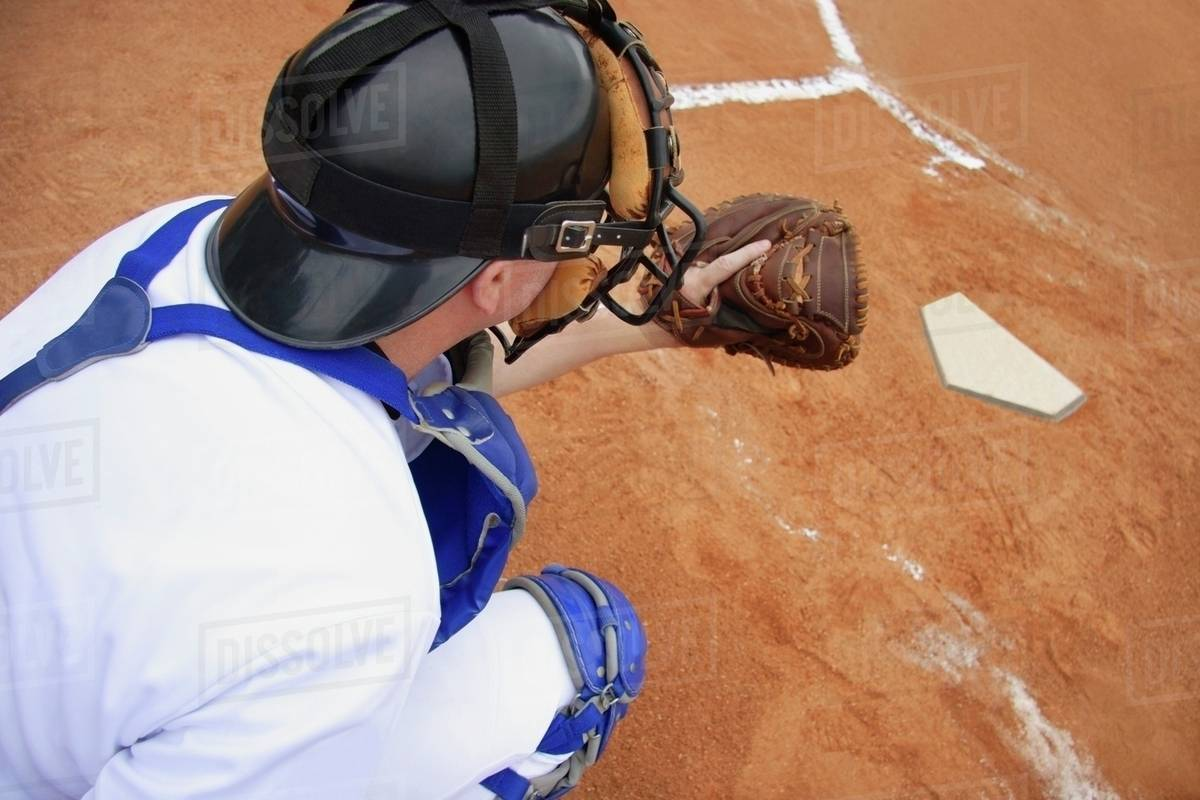 Back Catcher Ready To Catch The Ball Stock Photo Dissolve