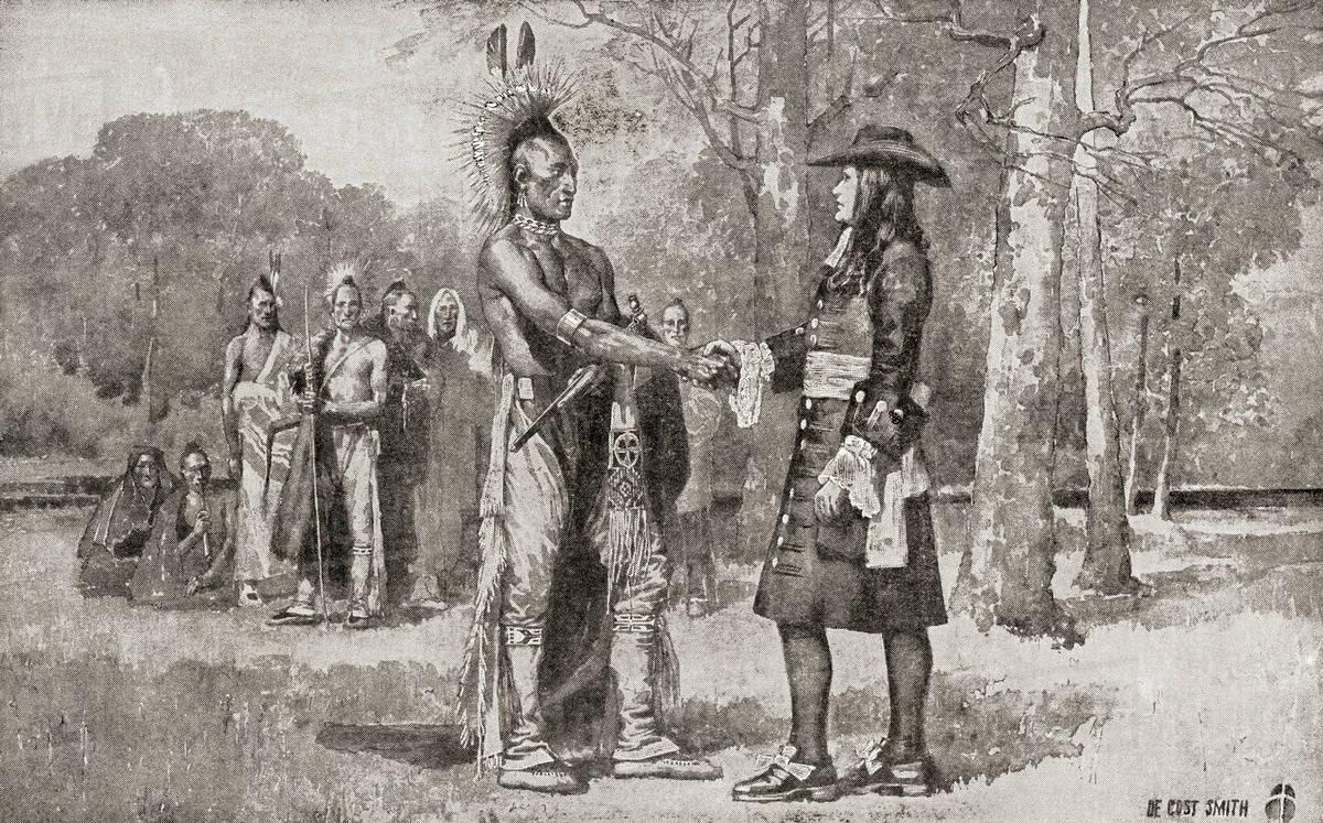 William Penn arrives in Upland, Chester, Province of Pennsylvania in 1682.  William Penn, 1644 - 1718. English real estate entrepreneur, philosopher,  ...