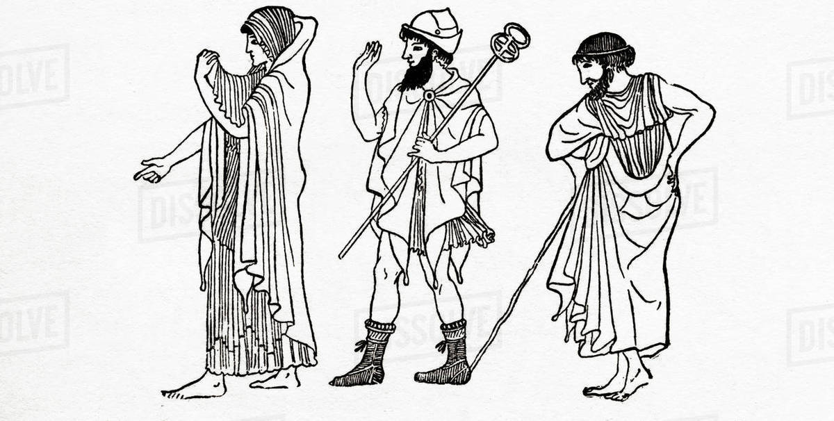Dress Of Athenian Men And Women In Ancient Greece From The Piers