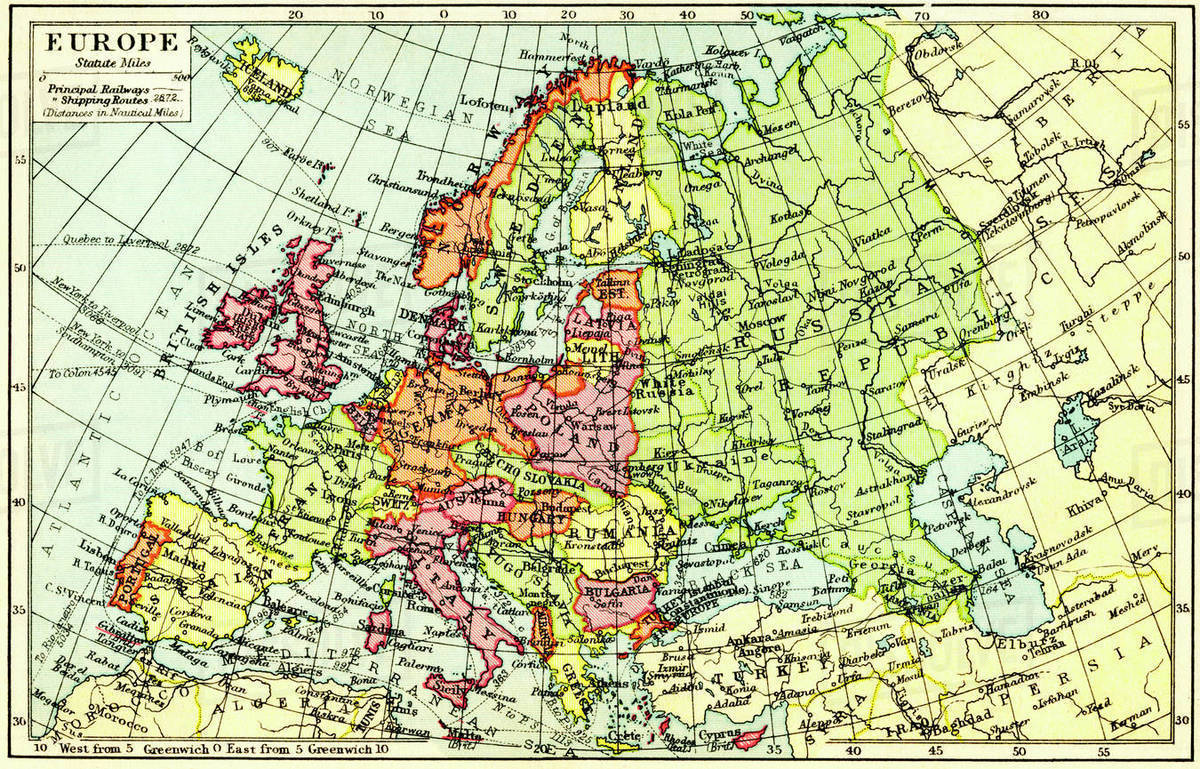 1930s Map Of Europe.A 1930 S Map Of Europe Stock Photo Dissolve