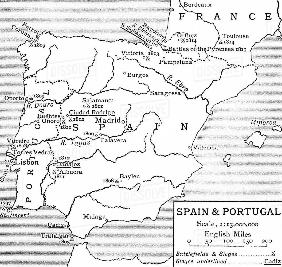 Map Of Spain 1930.Map Of Spain And Portugal At The Time Of The Peninsular War From The Story Of England Published 1930 Stock Photo