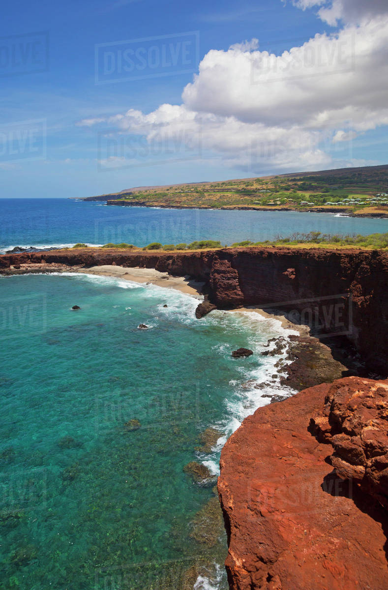 shark's cove with four seasons lanai at manele bay in background