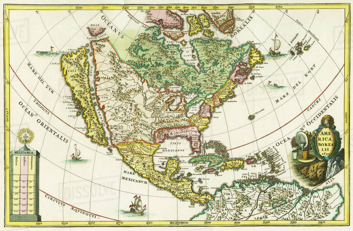 America Borealis Map Of North America Showing California As An Island From Heinrich Scherer S Geographia Hierarchica One Of A Seven Volume Set