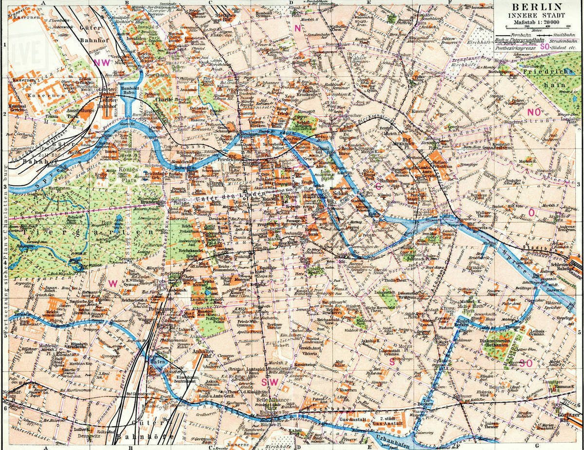 Berlin Map Of Germany.Map Of Berlin Germany C 1924 From Meyers Lexicon Published 1924 Stock Photo