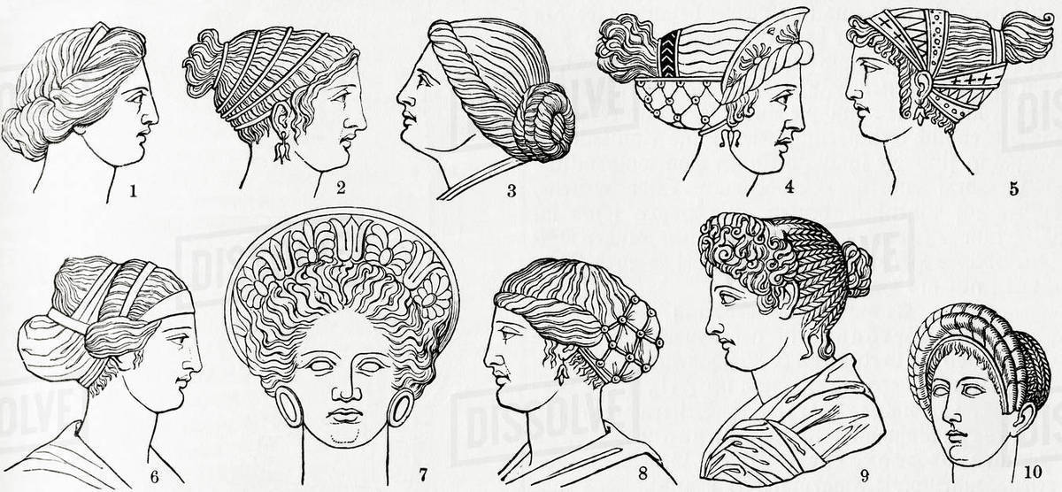 Numbers 1-8 Greek hairstyles. Numbers 9 and 10 Roman hairstyles. From  Meyers Lexicon, published 1927. stock photo